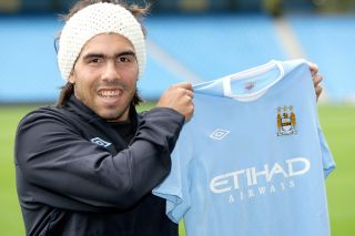 Carlos Tevez moved to Manchester City from neighbours Manchester United in 2009.