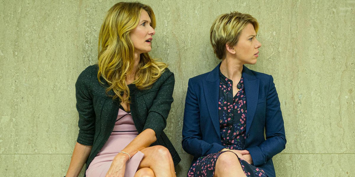 A frame from the movie Marriage Story featuring Laura Dern and Scarlett Johansson.
