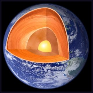 An illustration of Earth's layers, including the crust, mantle and core.