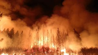 Night View of The Rim Fire