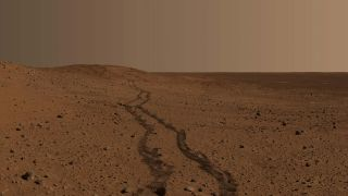 Spirit rover tracks on Mars