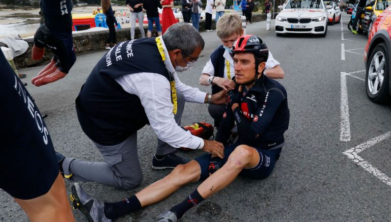 Geraint Thomas crashes on stage three of the Tour de France 2021