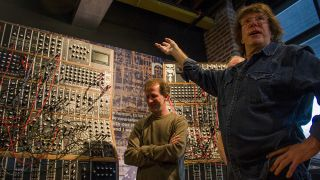"""Nope, I can't believe it either."" Keith Emerson shows off the recreation of his signature Modular."