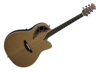 The Ovation 1778TX 4CS Elite TX has a dark walnut soundhole epaulette