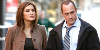 Mariska Hargitay as Olivia Benson and Christopher Meloni as Elliot Stabler in Law & Order: SVU.