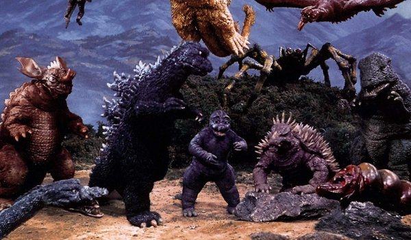 Destroy All Monsters a valley full of monsters posing together