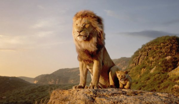 The Lion King Mufasa and Simba sitting on a cliff