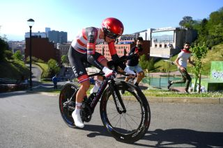 BILBAO SPAIN APRIL 05 Tadej Pogacar of Slovenia and UAE Team Emirates during the 60th ItzuliaVuelta Ciclista Pais Vasco 2021 Stage 1 a 139km individual time trial from Bilbao to Bilbao itzulia ehitzulia ITT on April 05 2021 in Bilbao Spain Photo by David RamosGetty Images