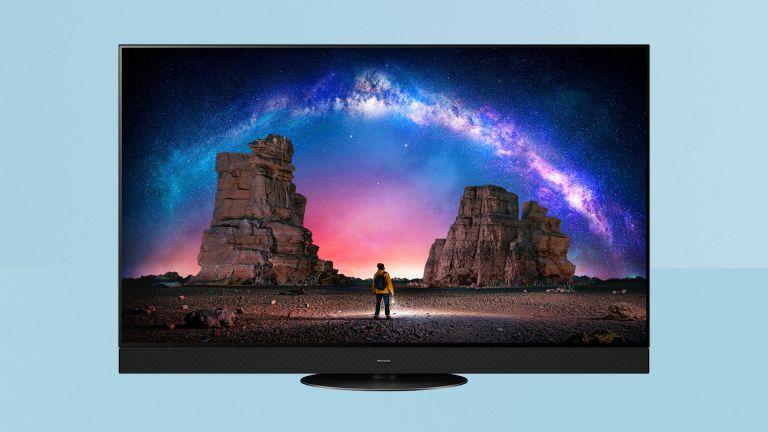 Panasonic JZ2000 review, TV on blue background