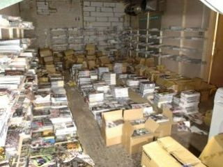 Picture of a warehouse where the DVDs were stashed
