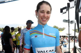 PASADENA CALIFORNIA MAY 18 Podium Celebration UCI Womens Tour Best Young Rider Marta Cavalli of Italy and Team Valcar Cylance Cycling after the 14th Amgen Tour of California 2019 Stage 7 a 126km stage from Santa Clarita to Pasadena AmgenTOC AmgenTOC on May 18 2019 in Pasadena California Photo by Chris GraythenGetty Images