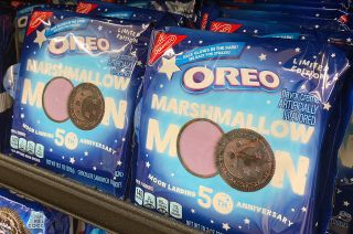 Marshmallow Moon Oreo cookies, celebrating the 50th anniversary of the Apollo 11 moon landing, have touched down on store shelves across the United States.