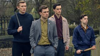 Danny Hatchard as driver Lee (front centre) in 'Ridley Road', leading the neo-Nazi thugs in 1960s London.