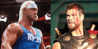 Hulk Hogan in No Holds Barred; Christ Hemsworth in Thor: Ragnarok