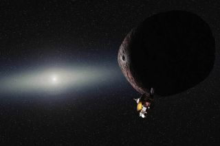 Artist's impression of NASA's New Horizons spacecraft encountering a Pluto-like object in the distant Kuiper Belt. NASA announced on Aug. 28, 2015, that it had selected 2014 MU69 as its first choice for the probe's secondary mission.