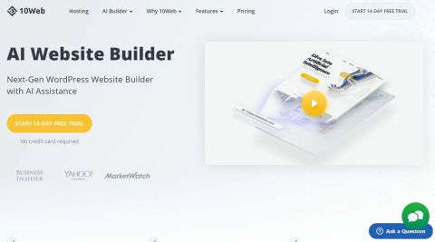 AI Website Builder's homepage