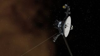 An artist's depiction of one of the twin Voyager probes entering interstellar space.