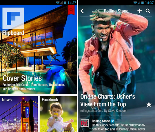 Flipboard Android screen design