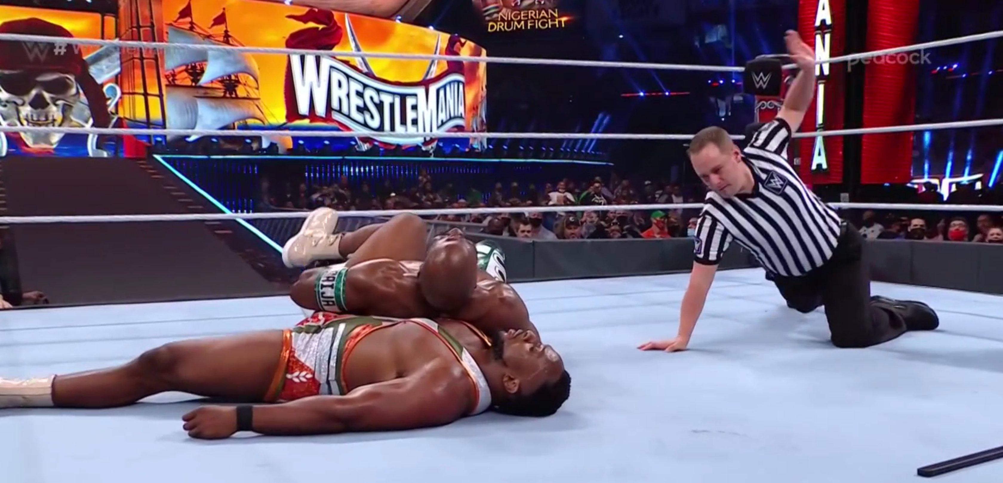 Apollo Crews pins Big E at WrestleMania 37