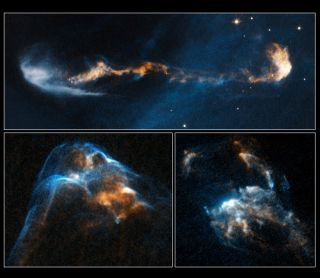 The glowing, clumpy streams of material shown in these NASA/ESA Hubble Space Telescope images are the signposts of star birth.