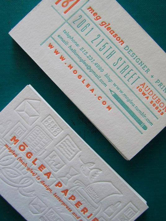 Letterpress business cards: Meg Gleason
