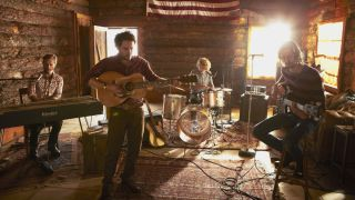 Dawes from left Tay Strathairn Taylor Goldsmith Griffin Goldsmith and Wylie Gelber hit the road with Bob Dylan before the release of Stories Don t End
