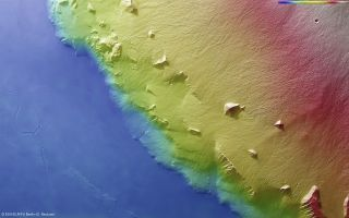 Olympus Mons Volcano Topographical Map Mars space wallpaper