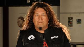 A photograph of Testament frontman Chuck Billy taken in 2011 - he is posing and looking serious