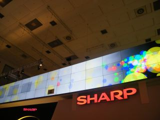 Sharp showcased its superthin video wall