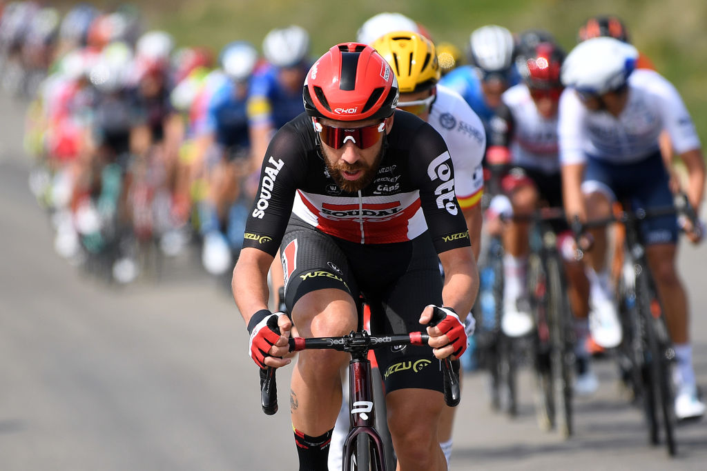 MANRESA SPAIN MARCH 26 Thomas De Gendt of Belgium and Team Lotto Soudal during the 100th Volta Ciclista a Catalunya 2021 Stage 5 a 2015km stage from La Pobla De Segur to Manresa 220m VoltaCatalunya100 on March 26 2021 in Manresa Spain Photo by David RamosGetty Images