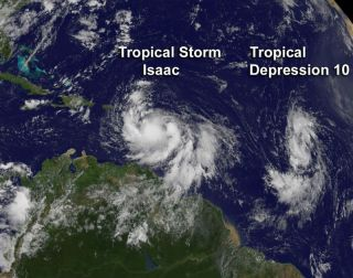 Tropical Storm Isaac and Depression 10.