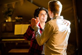 Ethan and Fenisha practise their first dance ahead of their wedding in Casualty.