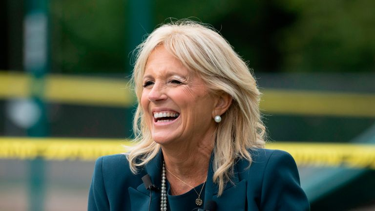 Jill Biden, the wife of Democratic presidential candidate Joe Biden, speaks during a Back to School Tour at Shortlidge Academy in Wilmington, Delaware, on September 1, 2020