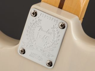The limited edition neck plates commemorate Fender's founding in 1946