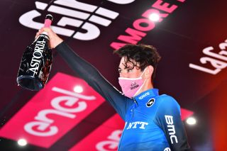 NTT's Ben O'Connor celebrates his victory on stage 17 of the 2020 Giro d'Italia