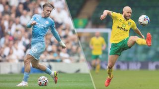 Manchester City vs Norwich City live stream Premier_League — Jack Grealish of Manchester City and Teemu Pukki of Norwich
