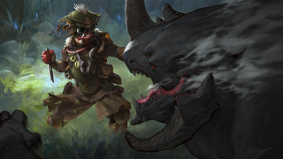 Bloodhound fights a big monster