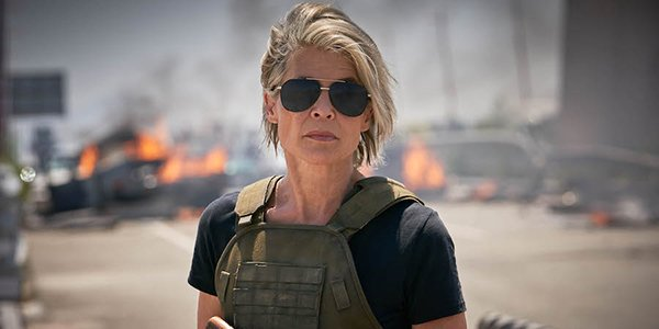 Sarah Connor doing what she does best in Terminator: Dark Fate