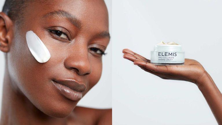 Model holding Elemis cream