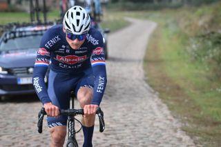 Mathieu van der Poel during Paris-Roubaix recon