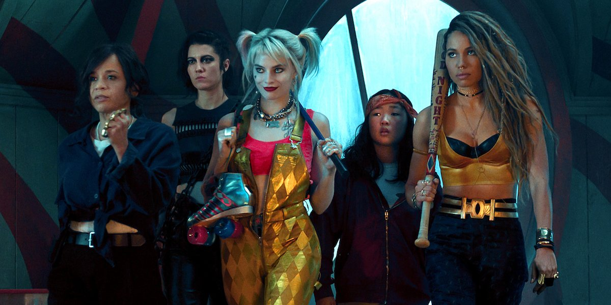 Birds of Prey 2020 full cast and Harley Quinn with her rollerskates.