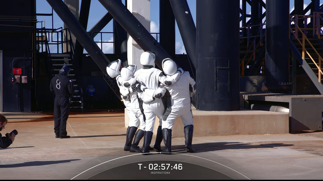 SpaceX's private Inspiration4 crew arrives at the launch pad.