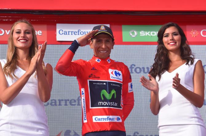 Nairo Quintana (Movistar) collects his 13th career red jersey at the Vuelta