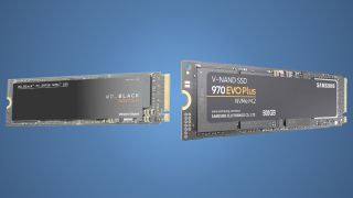Two M.2 SSDs – the Samsun Evo Plus and the Western Digital SN750 – on a blue background