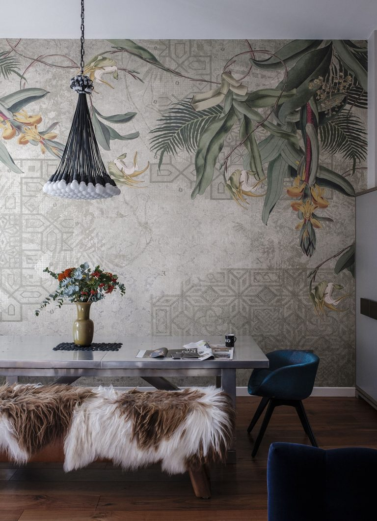 wall murals home decor the best murals and mural style wallpapersget the look the mural is from tres tintas in barcelona this is the 85 lamps pendant by droog the table and bench are by timothy oulton