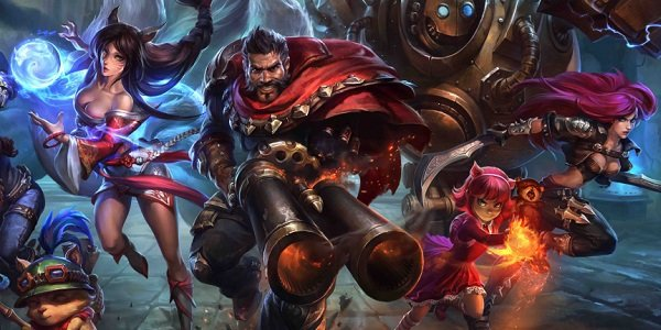 League of Legend heroes charge the field.
