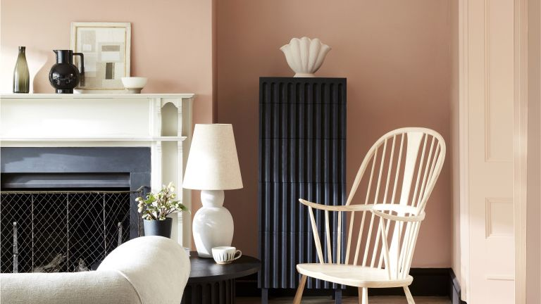 Pink painted room with black and white accessories
