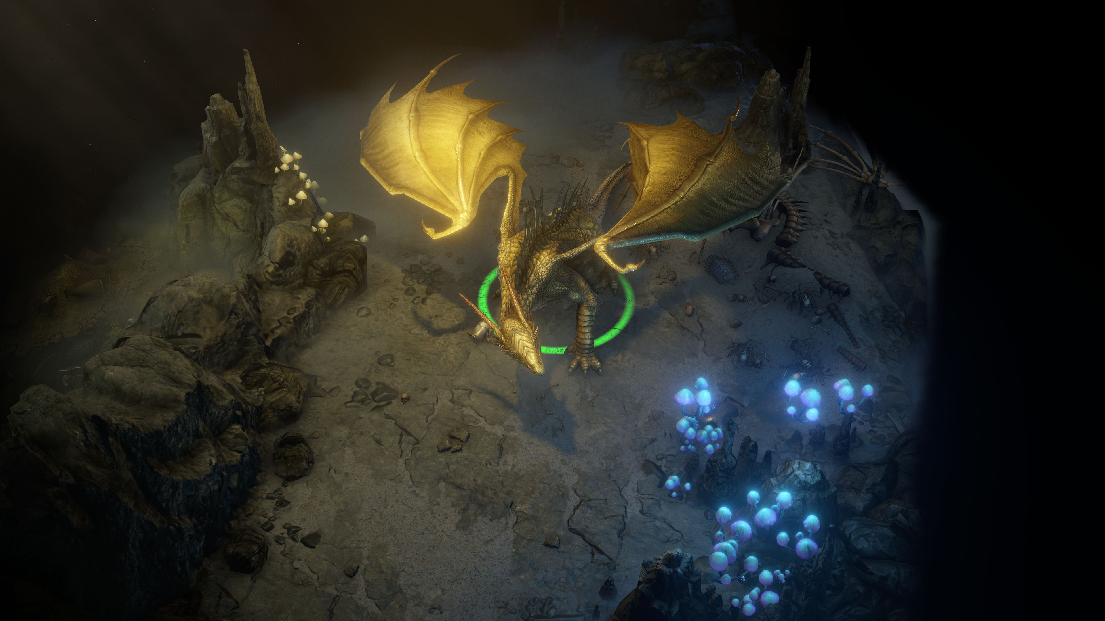 A gold dragon in a cave