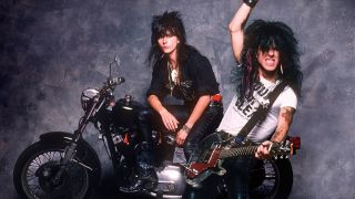 Revved up: Phil Lewis and Tracii Guns on a bike in 1988