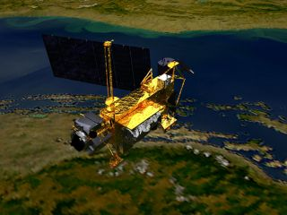 An artist's concept of the Upper Atmosphere Research Satellite (UARS) satellite in space